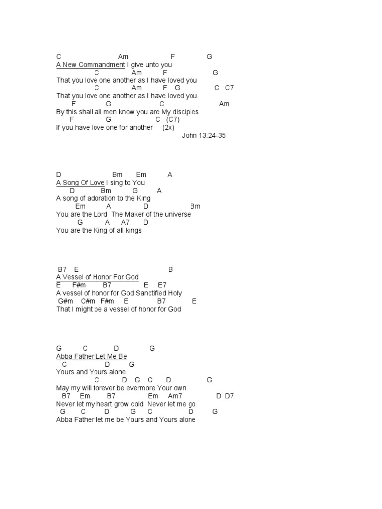 24 Guitar Chords For A New Commandment I Give Unto You For You