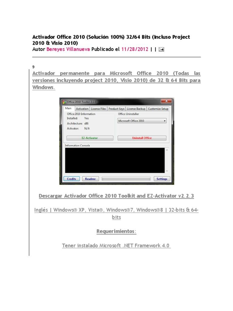 activador office 2010 windows 7 y 8 descargar