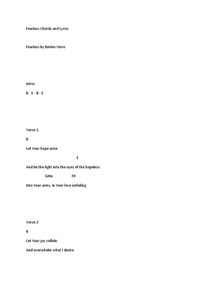 Fearless Chords and Lyrics   PDF   Song Structure   Theology