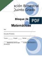Plan - 5to Grado - Bloque IV - Matemáticas