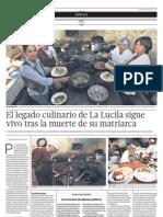 El legado culinario de La Lucila sigue vivo tras la muerte de su matriarca - El Comercio Arequipa (06-04-2013)