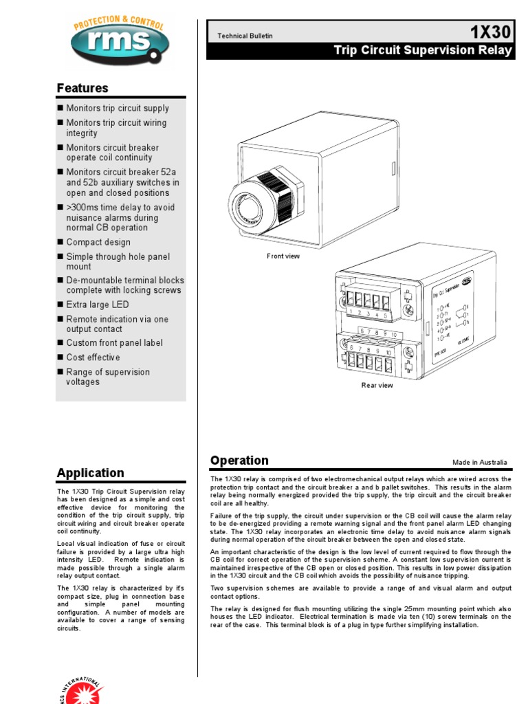 1x30 Tcs Relay Switch Current Alarm