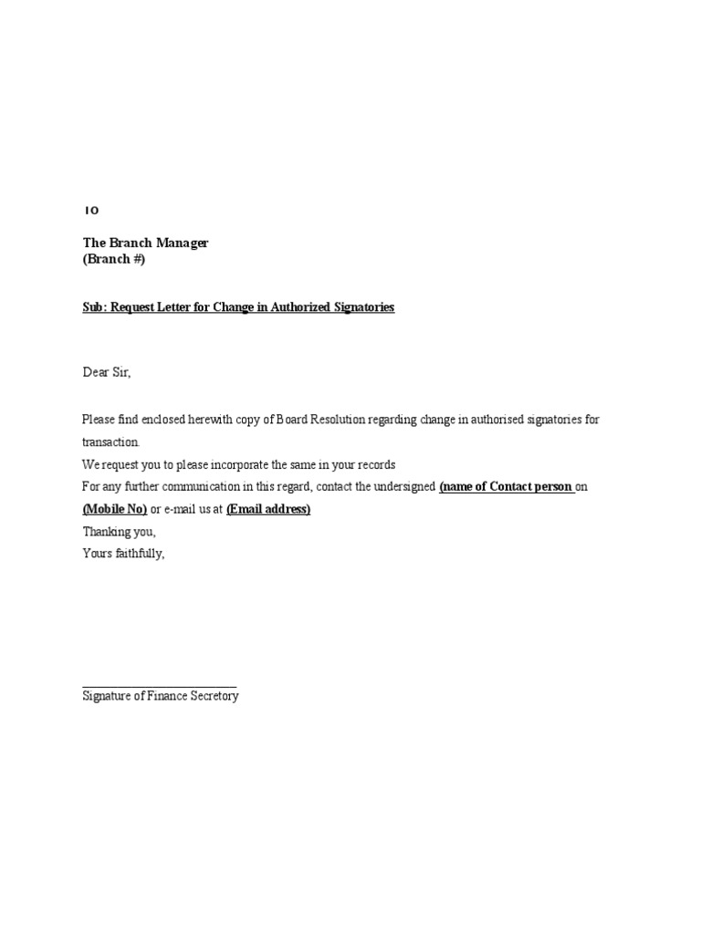 corporate resolution authorized signers template - request letter for change in authorized