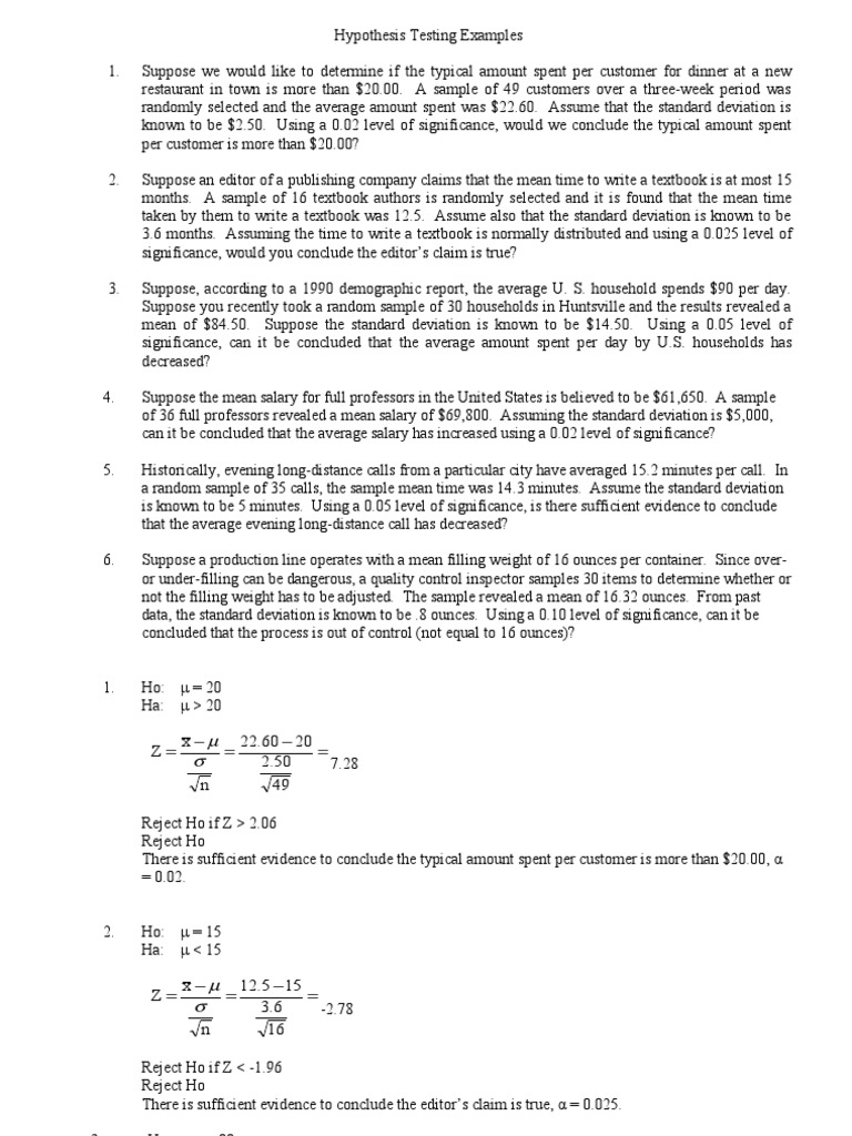 How To Calculate Standard Deviation Null Hypothesis Solution For