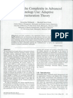 Adaptive Structuration Theory Poole and Desanctis