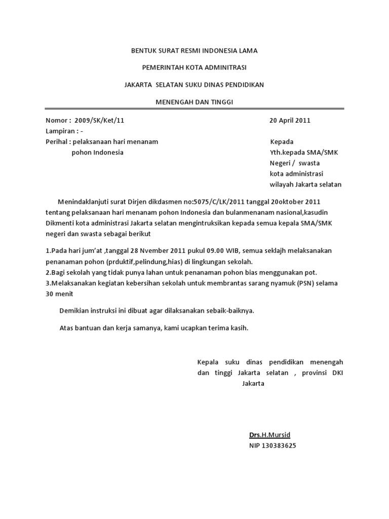 Contoh Surat Resmi Bentuk Semi Block Style Bentukbentuk