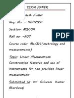 Term Paper Metrology