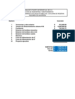 Presupuesto Por Actividades TANQUE No. 2 CALCULADO