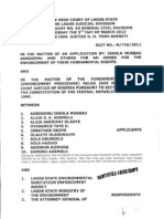 Agbodemu & Ors v. Lagos State Environmental Sanitation Enforcement Agency & Ors (M/710/2011)