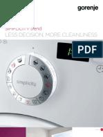 Gorenje Simplicity Line General Brochure Washing