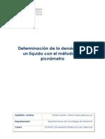 11. Artículo docente. Determinación de la densidad de un líquido con el método del picnómetro