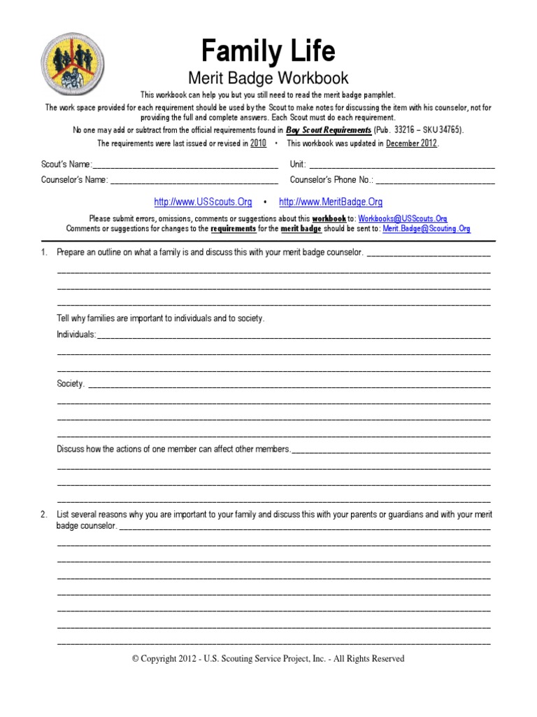 Workbooks citizenship in the world merit badge workbook : Family Life | Boy Scouts Of America | Scouting