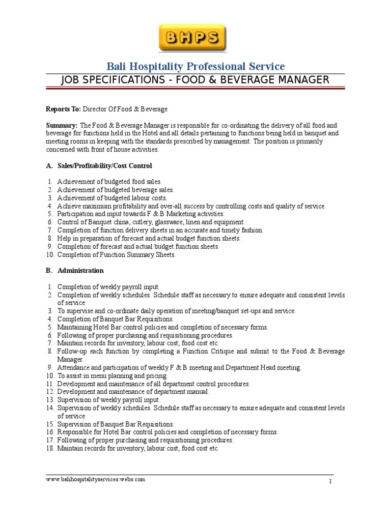 fb manager job specifications employment foods