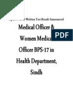 SPSC, Written Test Result Medical Officer