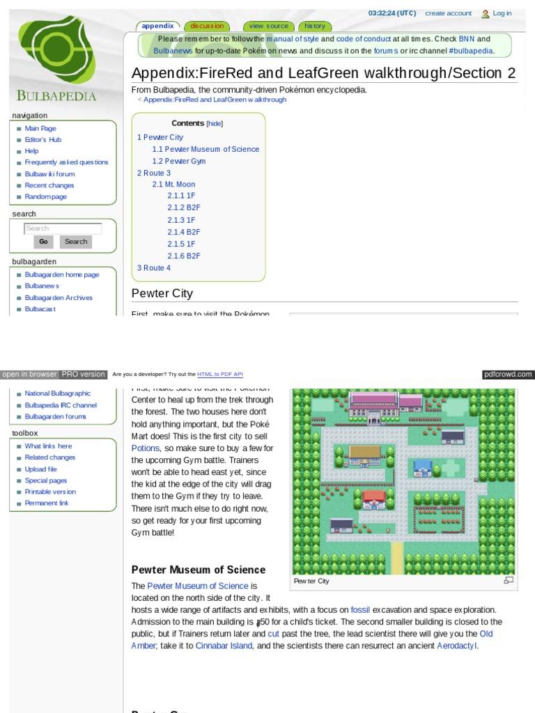 Bulbapedia Walkthrough Leaf Green | Pokémon | Nintendo