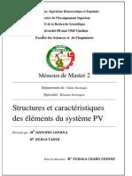 structures et caractéristiques   des éléments du système pv