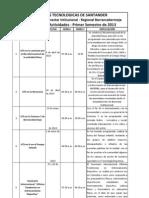 Calendario de Actividades Bienestar Institucional - Regional Barranca - Primer Semestre de 2013