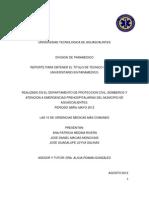 Reporte Para Obtener El Titulo de Tecnico Superior Universitario en Paramedico.