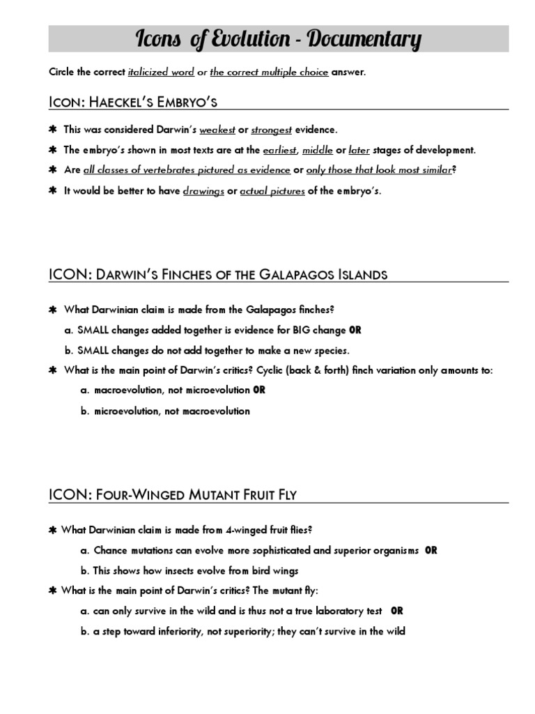 Icons of Evolution Worksheet Charles Darwin – Charles Darwin Worksheet