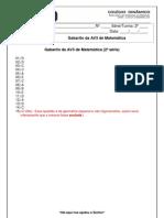 Gabarito da Prova Bimestral de Matemática_I Bimestre_2ª série
