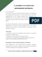 ANTECEDENTES HISTORICOS DE LA CLASIFICACIÓN DE LOS BIENES