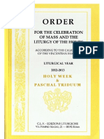 ORDO 2012/2013 - Order for Celebration of Holy Week and paschal Triduum