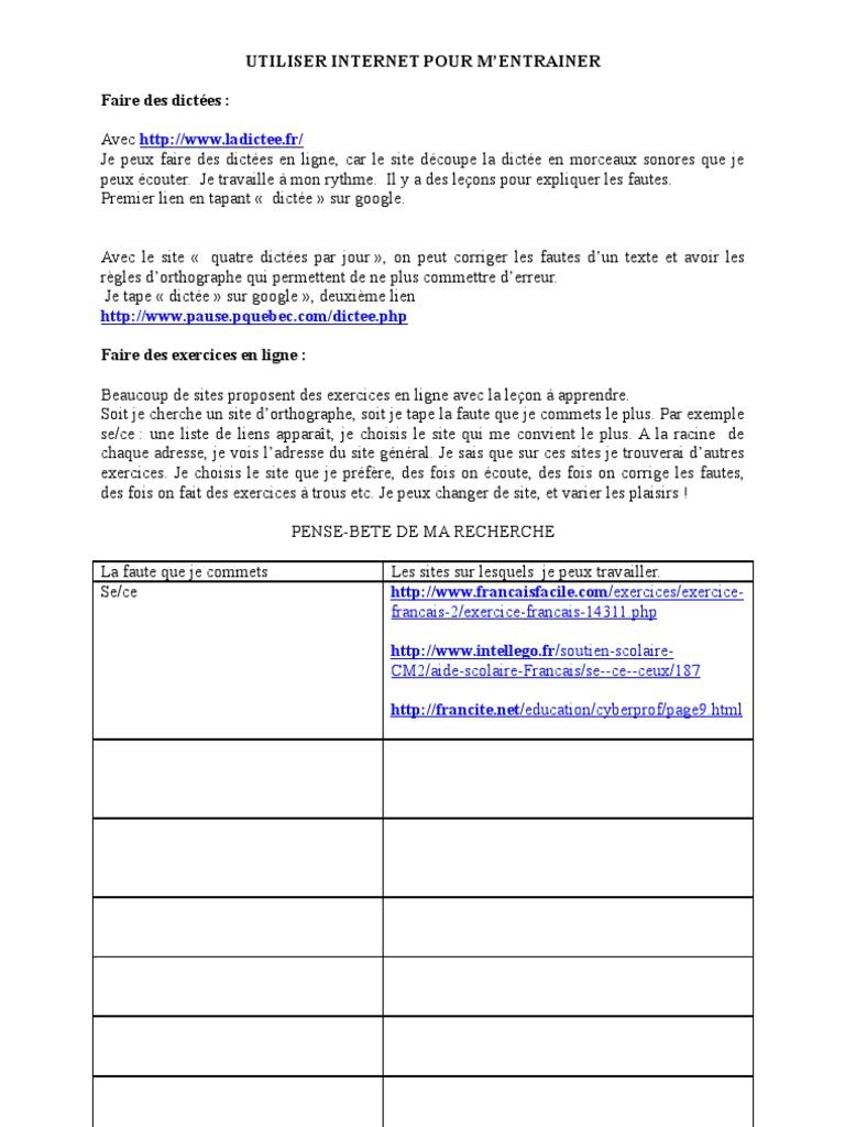 Utiliser Internet Pour M Entrainer Faire Des Dictees Francais 2 Exercice Francais 14311 Php