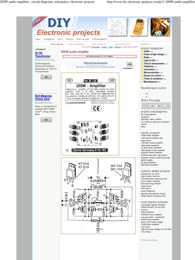 200W Audio Amplifier - Circuit Diagrams, Schematics ...