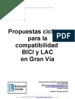 Propuestas ciclistas para la compatibilidad BICI y LAC en Gran Vía (Granada)