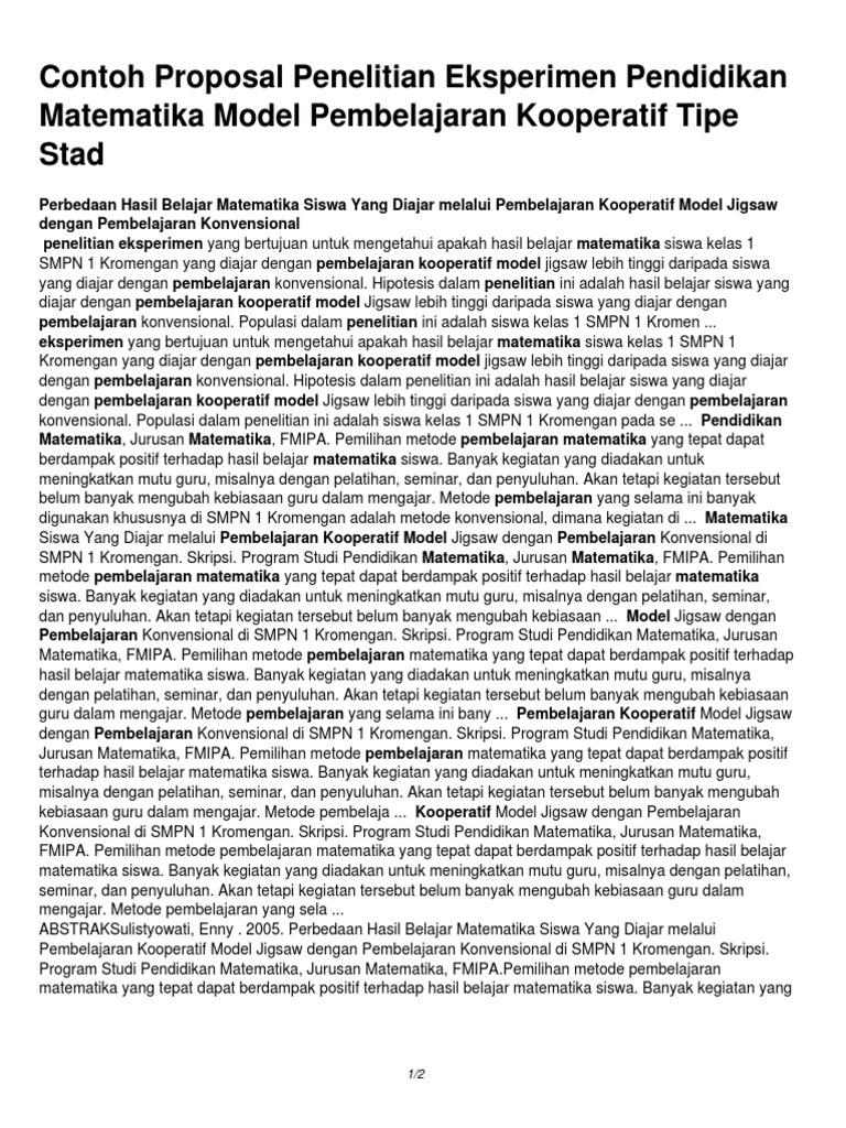 Contoh Proposal Penelitian Pendidikan Matematika Pdf Berbagi Contoh Proposal