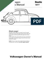 VW Beetle 1977 Owners Manual