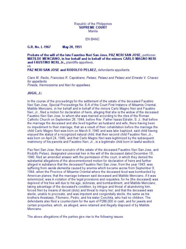 Menciano v san jose testimony will and testament xflitez Gallery