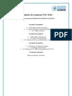 Calendario de exámenes PAU 2013