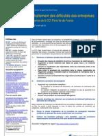 Prévention et traitement des difficultés des entreprises - Propositions de réforme de la CCI Paris Ile-de-France