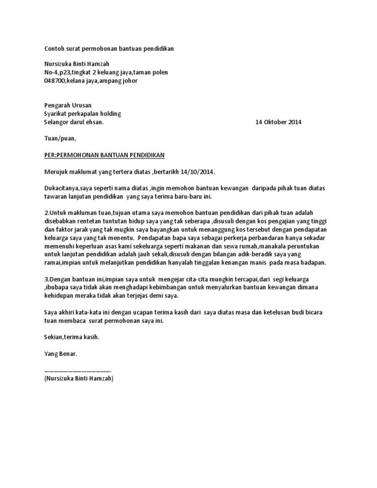 Contoh Surat Permohonan Bantuan Pendidikan