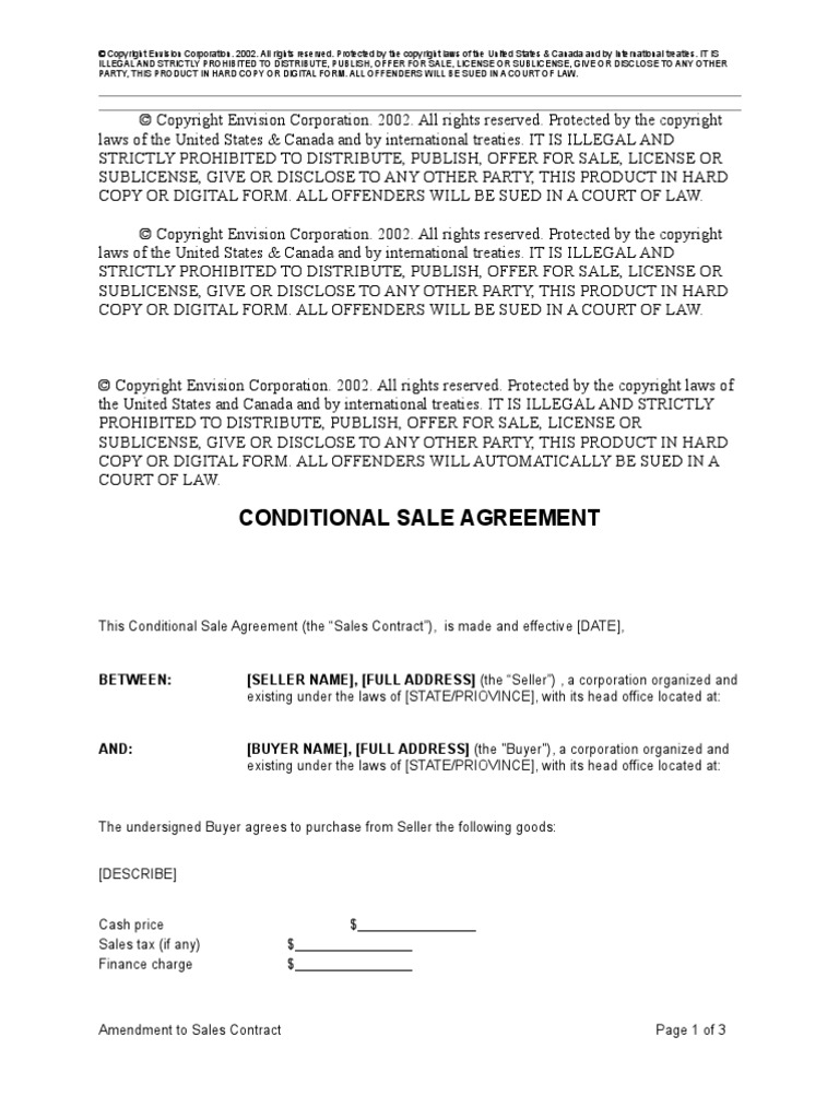 Conditional Sale Agreement Copyright Credit Finance
