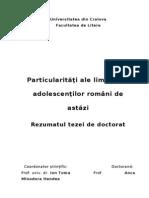 Particularităţi ale limbajului adolescenţilor