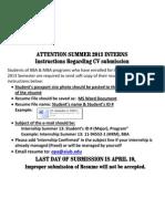 Instructions Regarding CV Submission