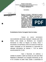 INTERESSE DA UNIAO no processo adm de retificaçao NÃO DESLOCA COMPETENCIA continua no juiz corregedor permanente