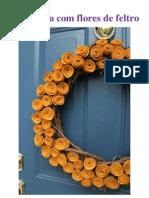 Artesanato Guirlanda Com Flores de Feltro