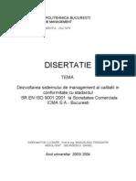 Implement Area Sistemului de Management Al Calitatii Al Societatii SC ICMA SA Bucuresti