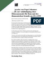 Rede von Papst Johannes XXIII. - Ankündigung eines oekumenischen Konzils