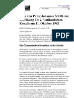 Rede von Papst Johannes XXIII. zur Eröffnung des zweiten vatikanischen Konzils