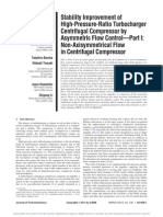 Stability Improvement of High-Pressure-Ratio Turbocharger Centrifugal Compressor by Asymmetric Flow Control—Part I Non-Axisymmetrical Flow in Centrifugal Compressor