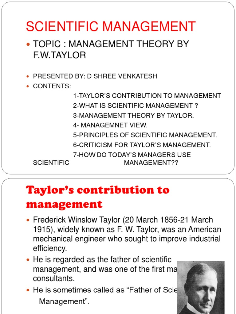 frederick taylor contribution