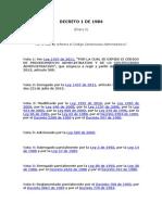 Decreto 1 de 1984 Codigo Contencioso Adminstrativo 2011