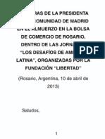 """""""Los desafíos de América Latina"""". Esperanza Aguirre"""