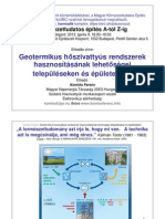 Geotermikus hıszivattyús rendszerek hasznosításának lehetıségei településeken és épületekben