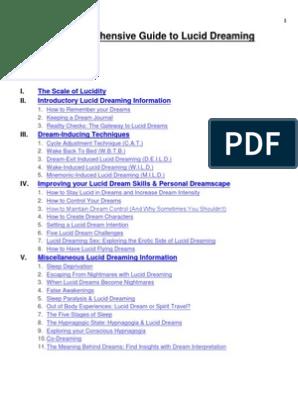 Comprehensive Guide on Lucid Dreaming pdf | Dream | Sleep
