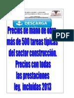 Precio Mano de Obra Construcción 2013 Venezuela